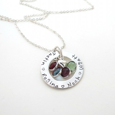 Personalized Family Necklace with Birthstones and Heart Charm - Personalized Jewelry - Kids Names - Mothers Necklace -Grandma - Engraved