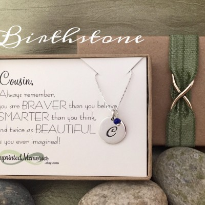 Personalized Gift for Cousin gift - Birthday Gift for Cousin - Sterling Silver Birthstone - Inspirational necklace for niece Graduation gift