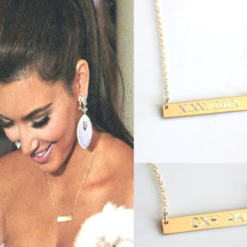 Personalized Gold Bar Necklace Nameplate Engraved Custom Horizontal Monogram Name Sterling Silver Celebrity Style