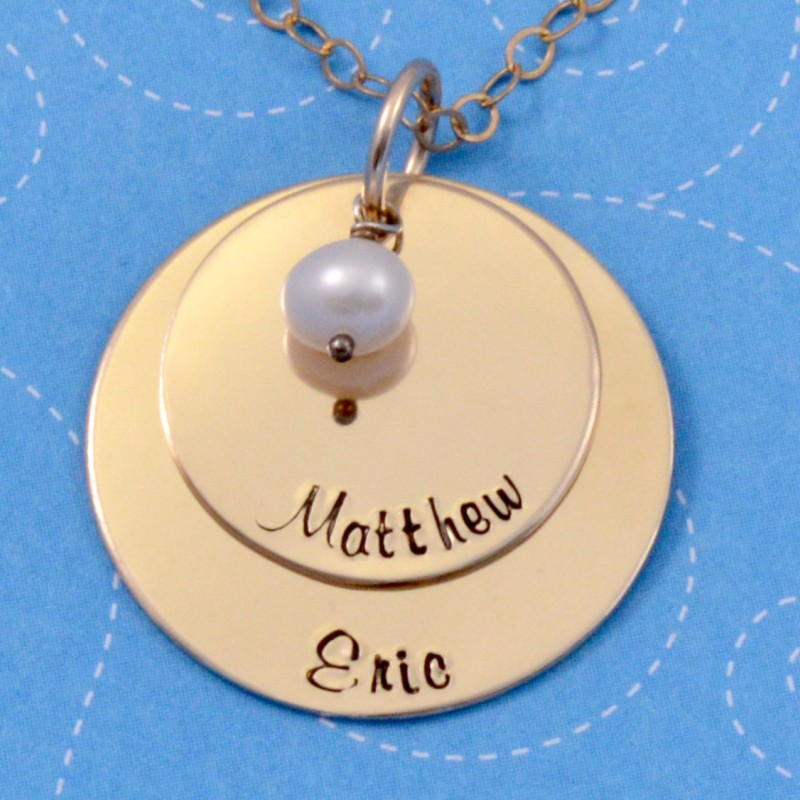 06a9adff7b988 Personalized Gold Mother's Necklace, 14k Gold-Filled Mommy Necklace ...
