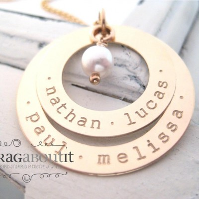 Personalized Hand Stamped Necklace . Personalized Jewelry . Brag About It . 18k Gold Plated . Personalized Jewelry . Forever Family
