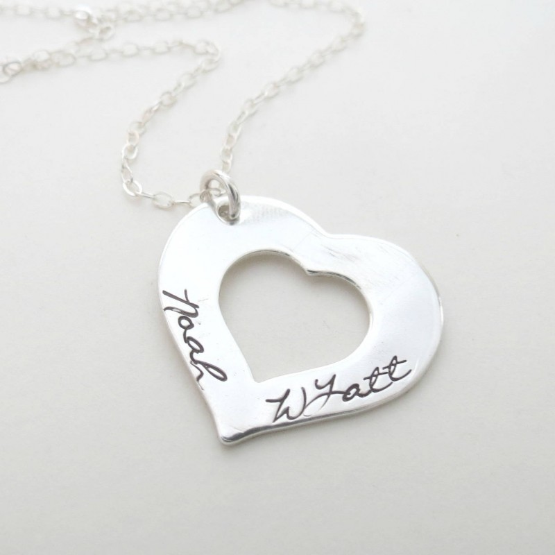 personalized heart necklace personalized jewelry kids names