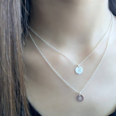 Personalized Initial Necklace Layered initial Necklace Initial jewelry Custom hand stamped letters 925 sterling silver hand stamped letters