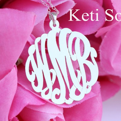 Personalized Initials - Monogrammed Charm Pendant Small to Large Sizes (Order Any Initials) - Sterling Silver