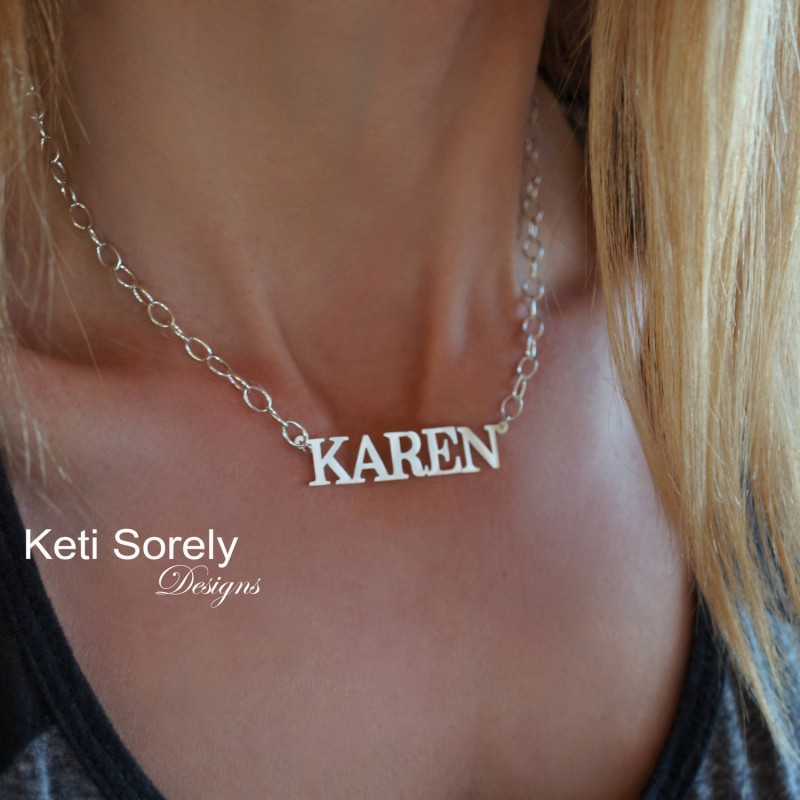 2f1b3d4039c0a Personalized Large Name Necklace With Large Link Chain - Sterling Silver,  Yellow Gold, Rose Gold and 18k Gold Plated - Nameplate Necklace