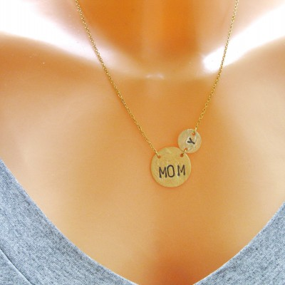Personalized Mom Necklace, Mom Necklace Gold, Mother Children Necklace, Mom Child Necklace, Mother Necklace Disc, Dainty Necklace, Grandma