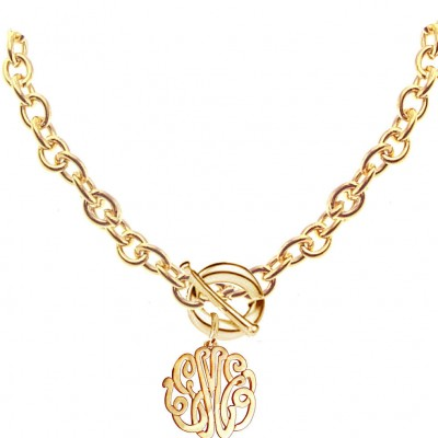 Personalized Monogram Initials Necklace with Toggle Clasp, Large Link Chain - Chunky Jewelry (Order Any Initials) - Yellow or Rose Gold.