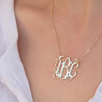 Personalized Monogram Necklace- Gold Necklace - Personalized Gift: Personalized Jewelry - Monogram Personalized Necklace- Bridesmaid Gift