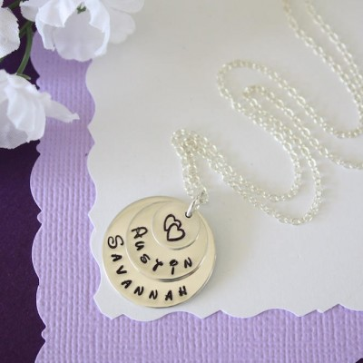 Personalized Mother Necklace, Grandma Necklace, Mommy Gift, Sterling Silver, 2 name charms, Heart Charm