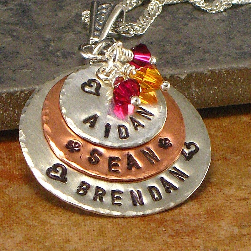 4aabaacf08725 Personalized Mother's Name Necklace - Hand Stamped Kids Names one ...