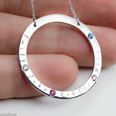 Personalized Mothers Necklace - Mothers Birthstone Necklace - Kids Name Necklace - Family Necklace - Christmas Gifts For Mom - New Grandma