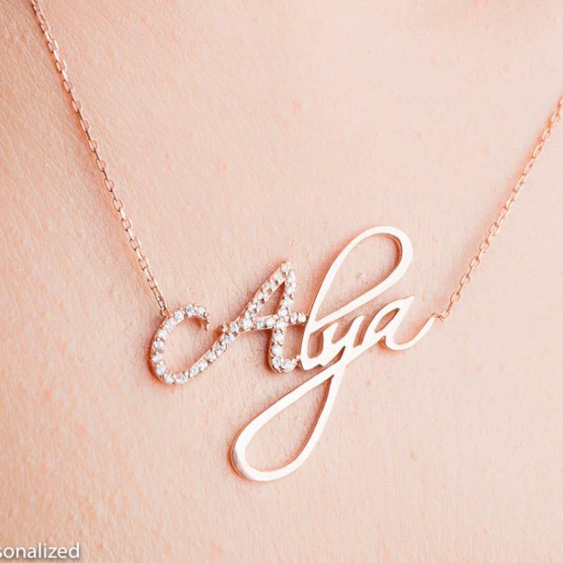 a2a95a7a0615f5 Personalized Name Necklace - Personalized Jewelry - Rose Gold Name Necklace  - Custom Name Plate Necklace - Personalized Bridesmaids Gifts