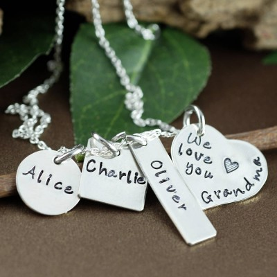 Personalized Name Necklace, Necklace for Grandma, Hand Stamped Necklace, GIft for Grandma, Personalized Necklace with kids Names