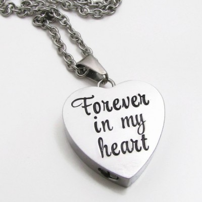 Personalized Necklace - Cremation Jewelry - Hand Stamped Necklace - Cremation Urn Necklace - Forever In My Heart - Personalized Jewelry