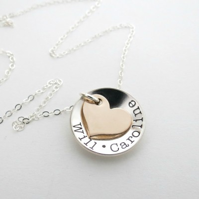 Personalized Necklace - Kids Name Necklace - Couples Name - Heart Necklace - Personalized Jewelry - Grandma - Nana - Mother - Mix Metals