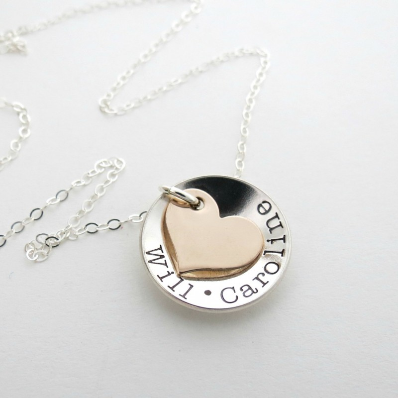 personalized necklace kids name necklace couples name heart