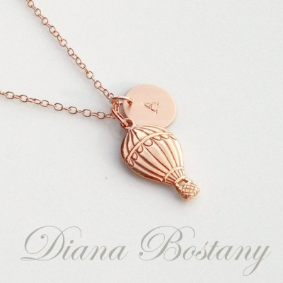 Personalized Necklace, Hot Air Balloon Jewelry, Initial Disc, Rose Gold Necklace, Carnival, Summer Necklace, Custom Jewelry, Gift for Her