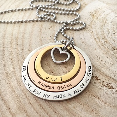 Personalized Necklace, Mothers Day Gift, Hand Stamped Necklace, Hand Stamped Jewelry, Personalized Name Necklace, Low Allergen, Gift For Mom