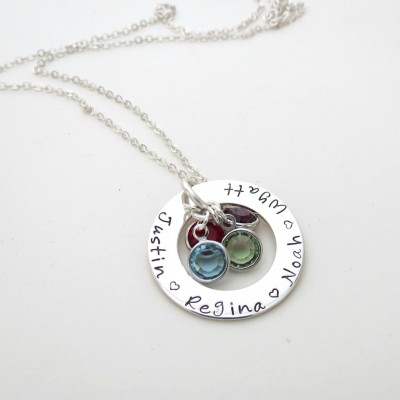 Personalized Necklace with Birthstones - Custom Name Jewelry - Kids Names - Mothers Necklace - Grandma - Womens Necklace - Engraved