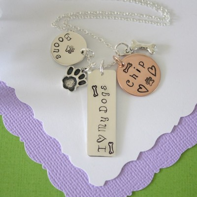 Personalized Pet Necklace, Furry Mother, Pet Mom, Animal Lover necklace Custom, Copper charm, paw, dog, cat, 3 pet charms, Sterling Silver