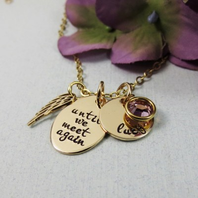 Personalized Remembrance Necklace, Angel Wing Necklace, Until We Meet Again, In Memory Of, Name Birthstone, 18kt Gold Plated, Memorial Jewelry