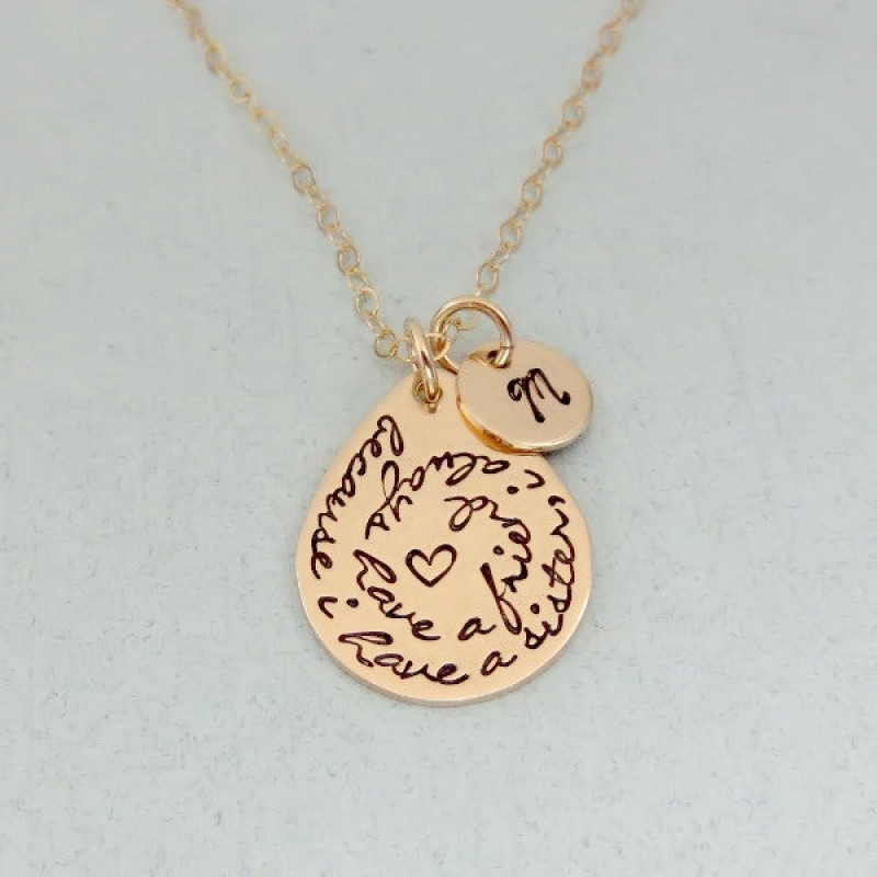 5461def966ce3 Personalized Sister Necklace - Gold Sister Necklace with Initial ...