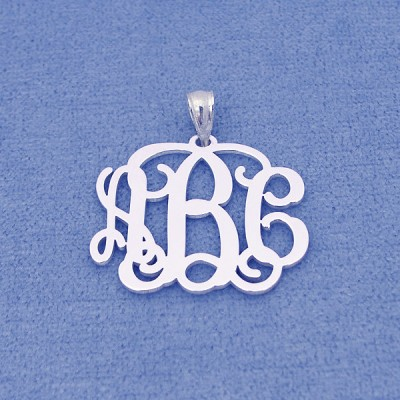Personalized Solid Sterling Silver 3 Initials Monogram Pendant Necklace Jewelry 1 inch SM31