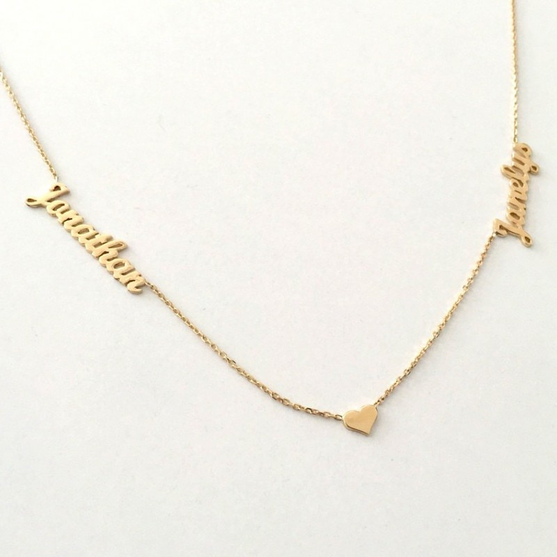 Bridesmaid Gift 14K Gold Necklace Dainty Name Necklace Tiny Name Charm Hearth Name Necklace Name Necklace Personalized 2 Name Necklace