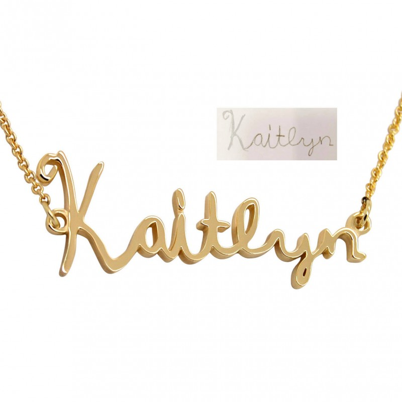 Personalized Your Childs Art Signature Necklace: Kid Name