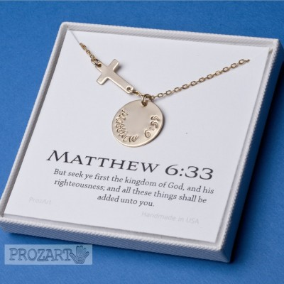 Personalized bible verse Necklace,Hand stamped,sideway cross,Name jewelry,bible verse jewelry,baptism gift,confirmation gift,graduation gift