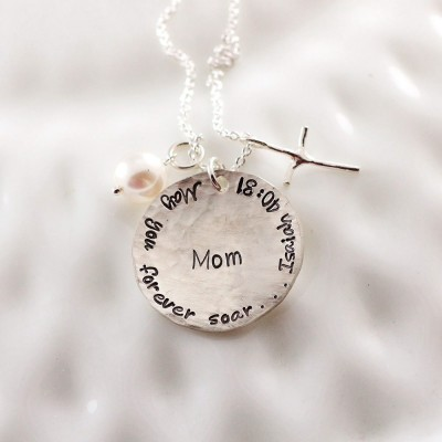 Personalized memorial jewelry - Isaiah 40:31 - Hand stamped sterling silver necklace
