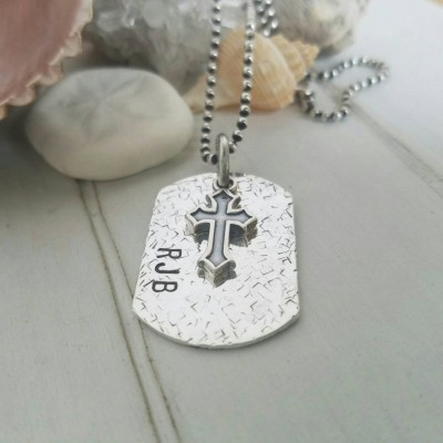 Personalized men's jewelry, Custom Dog Tag, Sterling silver dog tag, Double sided dog tag, Dad jewelry, Mens personalized dog tag, Mens Gift