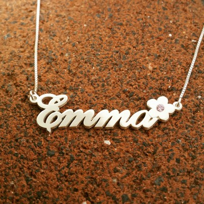 Personalized name necklace / Child nameplate necklace / Flower pendant / floral vintage style necklace / Emma name necklace / ORDER ANY NAME