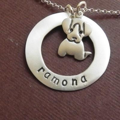 Personalized puppy dog sterling silver necklace - cute animal necklace - pet lover necklace