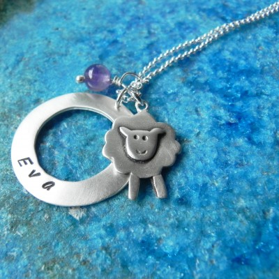 Personalized sheep sterling silver necklace with birth stone, baby shower gift - gift for mom