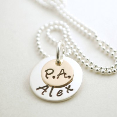 Physicians Assistant Jewelry - PA Necklace - Graduation for PA -Silver PA Jewelry - Custom Name Hand Stamped Sterling Silver and Gold Plated