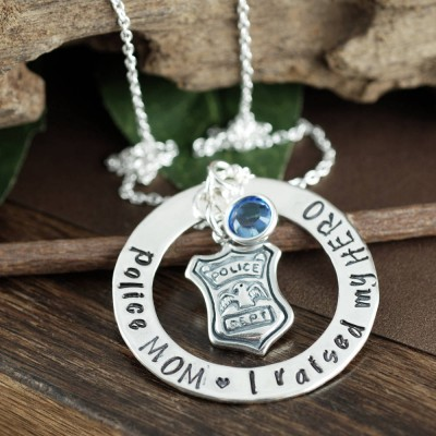 Proud Police Mom Necklace, I raised our HERO Personalized Necklace, Police Mom Jewelry, Gift for Police Mom, Police Shield Jewelry