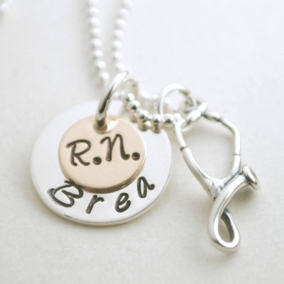 RN Jewelry Personalized for Nurse Graduation - Pinning Ceremony Gift - RN Custom Necklace - Sterling Silver and Gold Plated Nurse Necklace