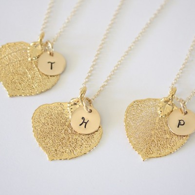 Real Aspen Necklace, Leaf Necklace Personalized, Gold Leaf, Gold Initial Charm, Small Leaf, Monogram Necklace, Initial Jewelry, Christmas