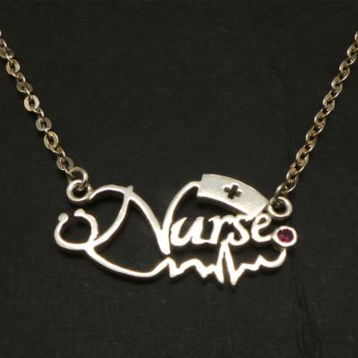 Registered RN Nurse Stethoscope Necklace - EKG, ECG, Practitioner, Nursing Graduation Gift, lpn, bsn, Personalized Name Necklace Choker