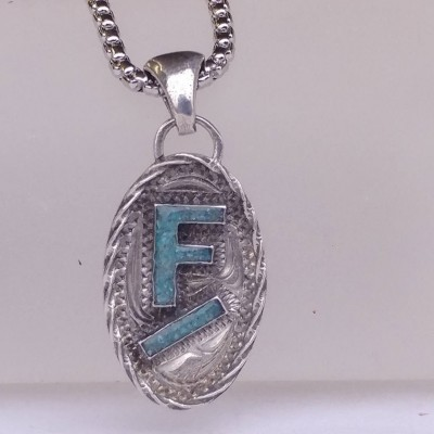 Rockin Out Jewelry - Custom Letter Pendant - Turquoise Necklace - Small Pendant - Western Style - Sterling Silver - Gift For Her - Valentine