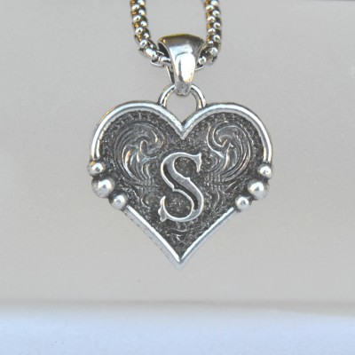 Rockin Out Jewelry - Sweetheart Pendant - Necklace With Initial - Western Jewelry - Personalized Necklace - Valentines Necklace - For Her