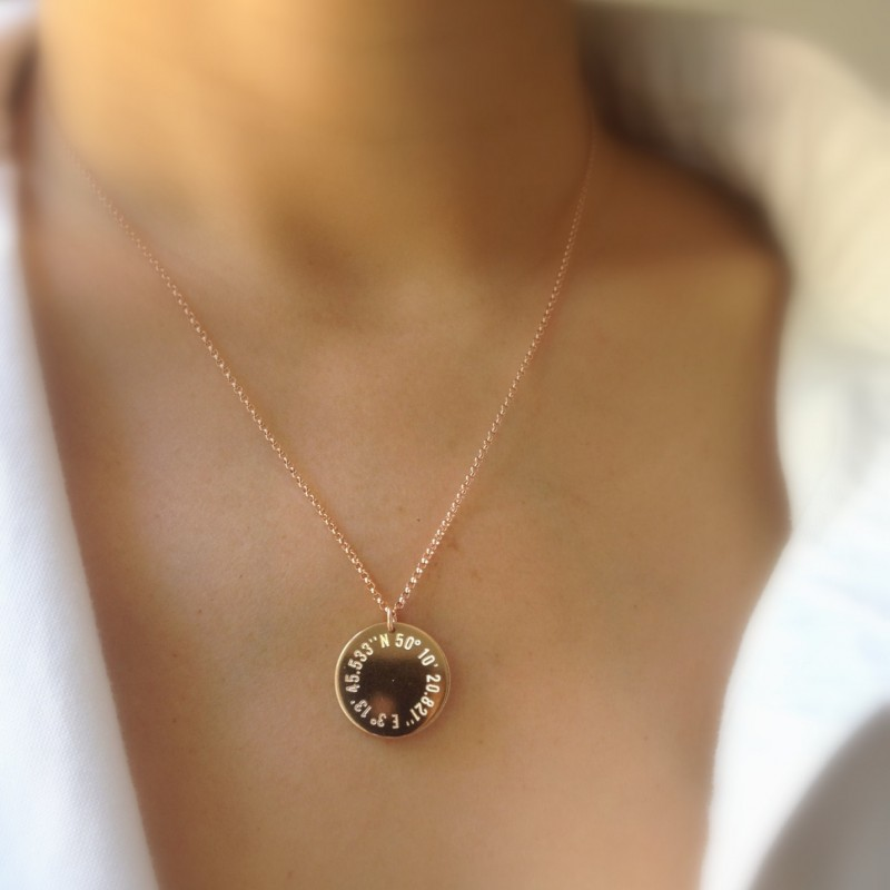 Rose Gold Coordinate Necklace Round Gold Pendant Latitude Longitude Necklace Personalized Gold Necklace City Coordinates Gps