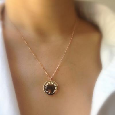 Rose Gold Coordinate Necklace - Round Gold Pendant - Latitude Longitude Necklace - Personalized Gold Necklace - City Coordinates - GPS