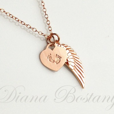 Rose Gold Memorial Necklace, Tiny feet Necklace, Angel Wing Charm, Child loss jewelry, Keepsake Jewelry, Mothers, Gift