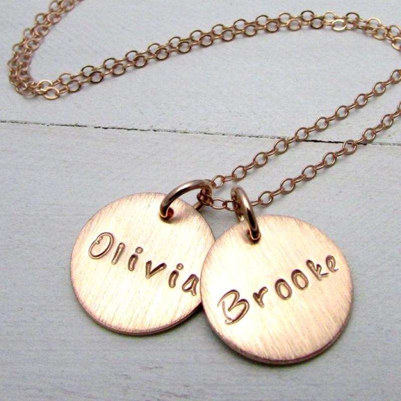 rose gold name necklace 14k rose gold filled custom charms