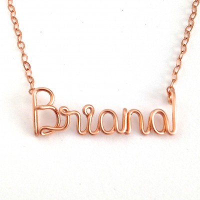 Rose Gold Name Necklace. Personalized 18k Rose Gold Plated Custom Name Necklace