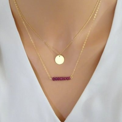Ruby necklace, layering necklace set of two, bridesmaids gift, Mother's Day gift idea