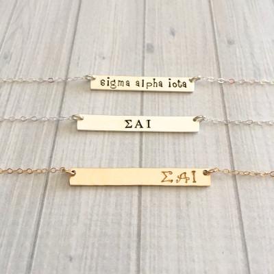 SIGMA ALPHA IOTA Necklace - Sigma Alpha Iota Jewelry - Officially Licensed Sorority Jewelry - Sorority Bar Necklace - Big Little Gift