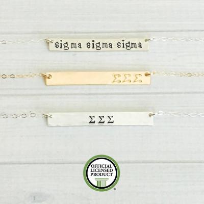 SIGMA SIGMA SIGMA Necklace - Sigma Sigma Sigma Jewelry - Tri Sig Necklace - Sorority Bar Necklace - Sorority Jewelry